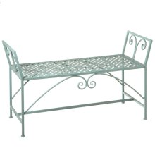 Green Backless Bench w/ Scroll Detail