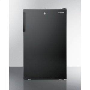 """SummitCommercially Listed 20"""" Wide Built-in Undercounter All-freezer, -20 C Capable With A Lock and Black Exterior"""