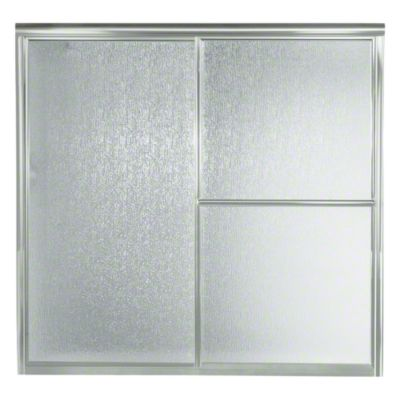 "Deluxe Sliding Bath Door - Height 56-1/4"", Max. Opening 59-3/8"" - Silver with Rain Glass Texture"