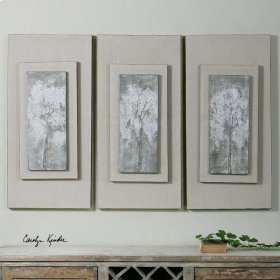 Triptych Trees Hand Painted Canvases