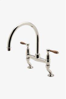 Easton Classic Two Hole Bridge Gooseneck Kitchen Faucet, Oak Lever Handles STYLE: EAKM05