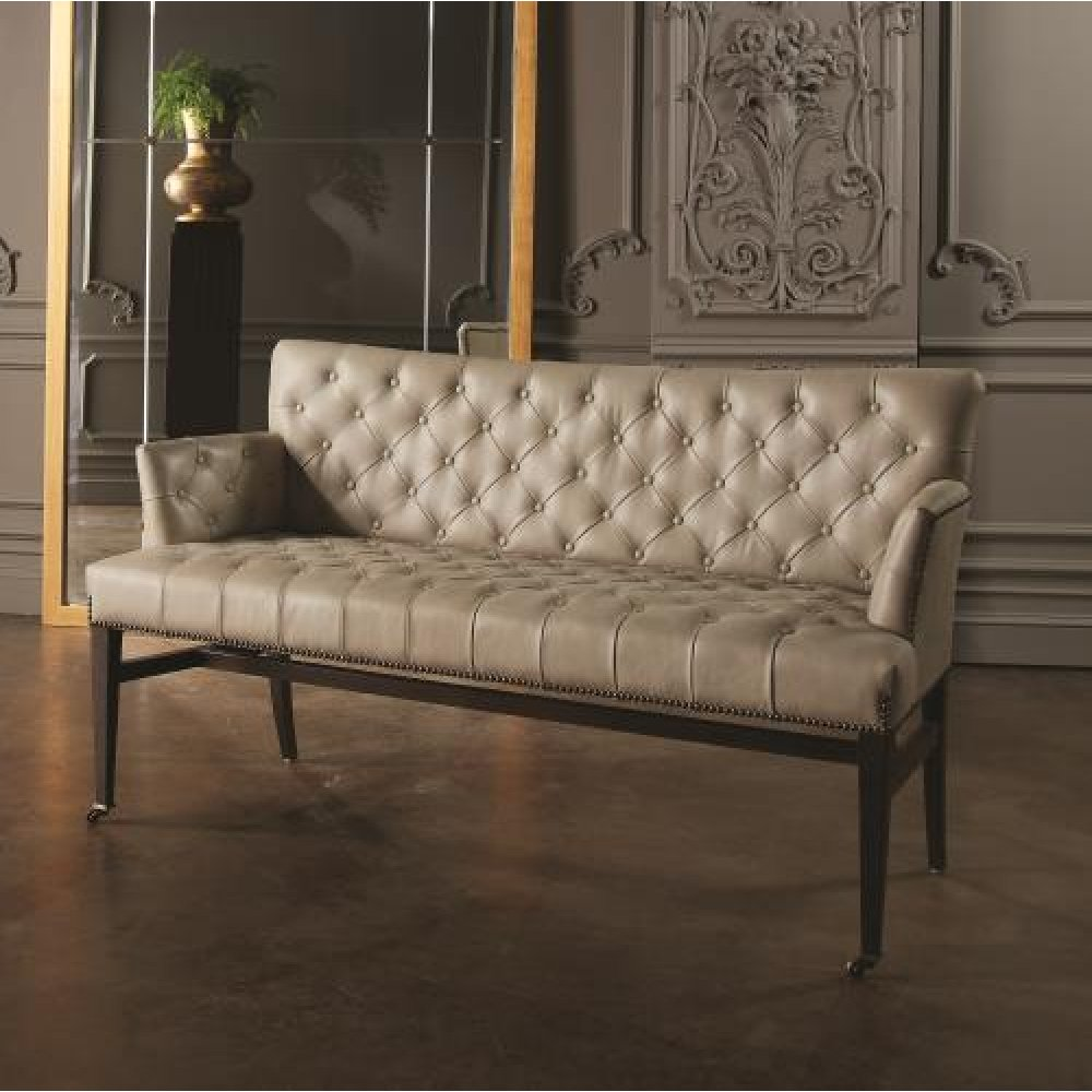 Chester Loveseat-Light Grey Marbled Leather