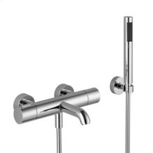 Tub thermostat for wall-mounted installation with hand shower set - chrome