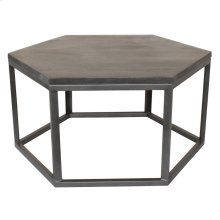 Bengal Manor Mango Wood and Metal Grey Hexagon Cocktail Table