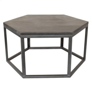 CRESTVIEW COLLECTIONSBengal Manor Mango Wood and Metal Grey Hexagon Cocktail Table