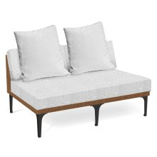 "55"" Tan Rattan Two-Seat Centre Sofa Sectional, Upholstered in COM"