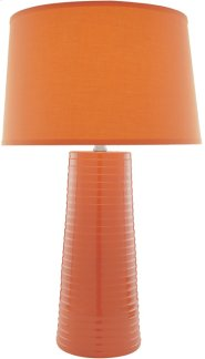 Ceramic Table Lamp, Orange W/fabric Shade,type A 150w Product Image