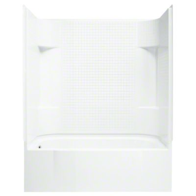 """Accord® AFD 60"""" x 30"""" x 74-1/4"""" Bath/Shower with Age in Place Backers - Left-hand - White"""
