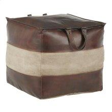 Cobbler Pouf - Espresso Leather, Tan Canvas