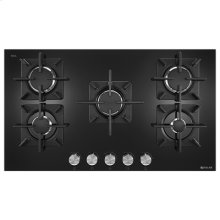"Black Floating Glass 36"" 5-Burner Gas Cooktop"