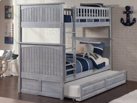 Nantucket Bunk Bed Twin over Twin with Raised Panel Trundle Bed in Driftwood Grey