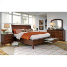 Queen Cherry Sleigh Platform bed w/ Storage Drawers Product Image