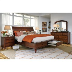 Queen Cherry Sleigh Platform bed w/ Storage Drawers