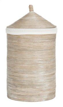 Wellington Rattan Storage Hamper With Liner - Natural White Wash