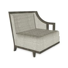 "29"" Grey & Tan Rattan Left One-Seat Sofa Sectional, Upholstered in Standard Outdoor Fabric"