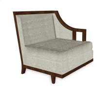 "29"" Walnut & Tan Rattan Left One-Seat Sofa Sectional, Upholstered in Standard Outdoor Fabric"