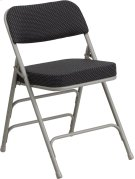 HERCULES Series Premium Curved Triple Braced & Double Hinged Black Pin-Dot Fabric Metal Folding Chair Product Image