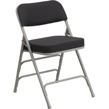 HERCULES Series Premium Curved Triple Braced & Double Hinged Black Pin-Dot Fabric Metal Folding Chair