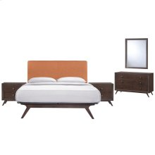 Tracy 5 Piece Queen Upholstered Fabric Wood Bedroom Set in Cappuccino Orange