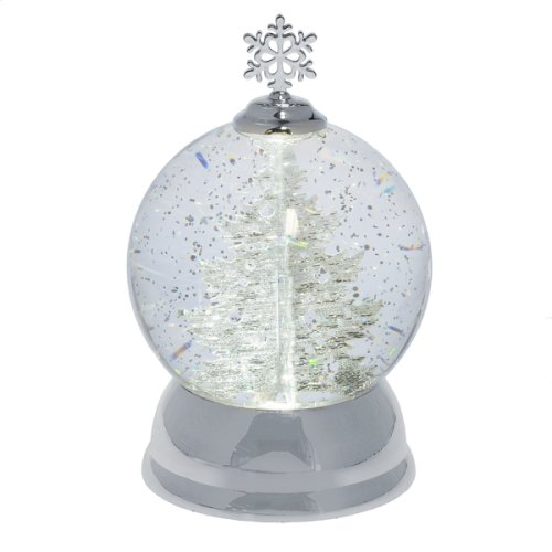 Lighted LED Rotating Shimmer Silver Tree Globe.