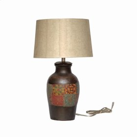 Mani Terra Cotta Painted Lamp w/ Shade