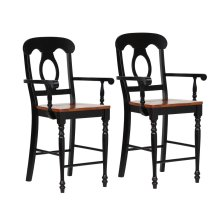 DLU-B50A-BCH-2  Napoleon Barstool with Arms  Antique Black and Cherry  Counter Height Stool  Set of 2 (Copy)