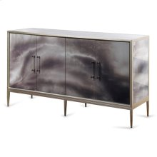 Grey Black and Cream Smokey High Gloss Credenza  36in X 66in X 18in  Four Door Credenza