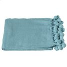 Turquoise Throw with Pom-Poms. Product Image