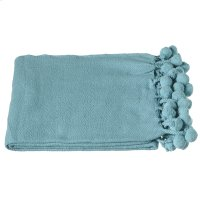 Turquoise Throw with Pom-Poms Product Image