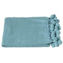 Turquoise Throw with Pom-Poms