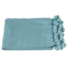 Turquoise Throw with Pom-Poms