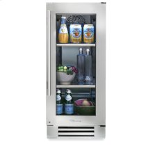 15 Inch Stainless Glass Door Undercounter Refrigerator - Right Hinge Stainless Glass