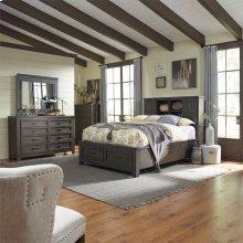 Queen Bookcase Bed, Dresser & Mirror, Chest