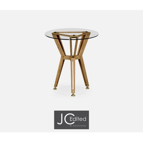 """24"""" Oak Architectural Circular Side Table"""