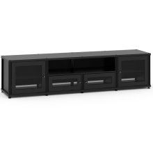 Synergy Solution 245, Quad-Width AV Cabinet, Black with Black Posts