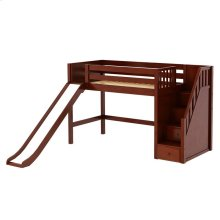 Mid Loft Bed w/Staircase on End and Slide : Twin : Chestnut : Panel