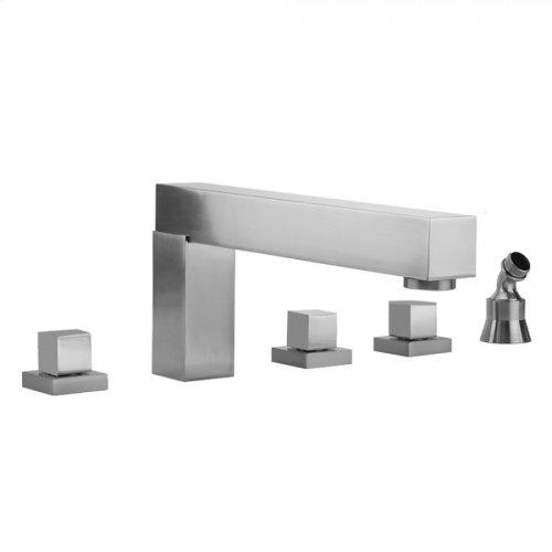 Satin Chrome - CUBIX® Roman Tub Set with Cube Handles and Angled Handshower Holder
