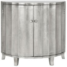 Rutherford Demilune Cabinet / Silver - Silver Leaf