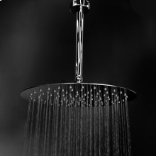 Ceilling mount tilting round rain shower head with ultra thin edge and flow regulator 3.1 gal/m, 120 rubber nozzles. Arm and flinge sold separately. Diam: 12""