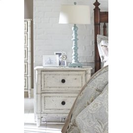 Bamboo Nightstand - White Finish