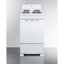 "20"" Wide Electric Range In White Finish With Coil Burners"