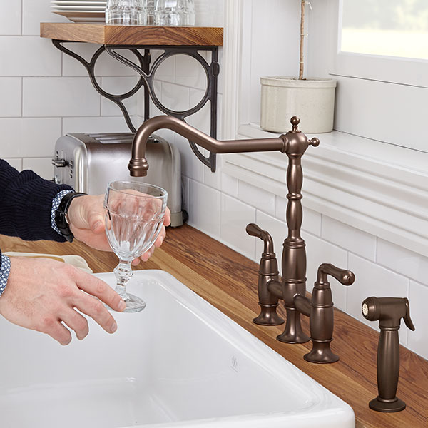 Hidden · Additional Victorian Bridge Kitchen Faucet   Carbon Bronze