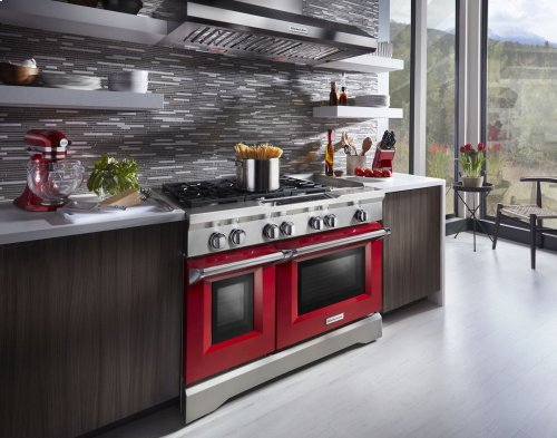 48'' 6-Burner with Griddle, Dual Fuel Freestanding Range, Commercial-Style - Signature Red