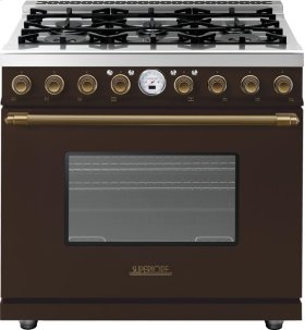 Range DECO 36'' Classic Brown matte, Bronze 6 gas, electric oven, self-clean