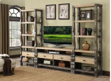 Emerald Home Barcelona Entertainment Complete Wall Unit Kit Natural & Brown E551-k