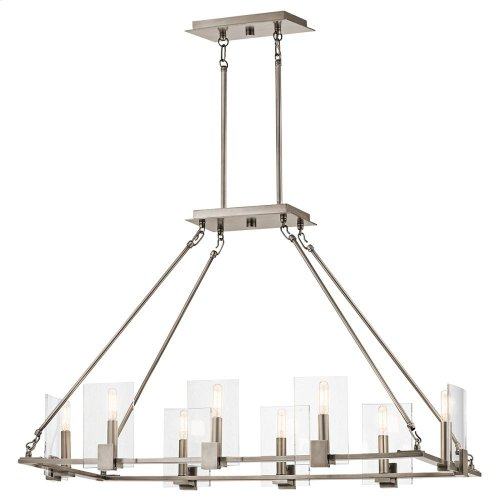 Signata Collection Signata 8 Light Linear Chandelier in Classic Pewte