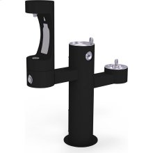 Elkay Outdoor EZH2O Bottle Filling Station Tri-Level Pedestal, Non-Filtered Non-Refrigerated Black