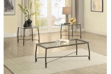 3-Piece Occasional Tables with Glass Top