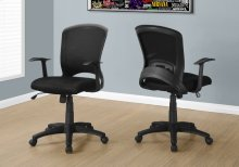 OFFICE CHAIR - BLACK MESH MID-BACK / MULTI-POSITION