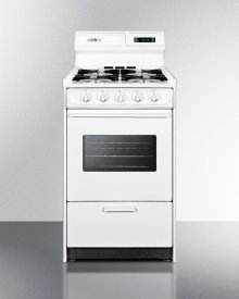 """Deluxe Gas Range In Slim 20"""" Width With Electronic Ignition, Digital Clock/timer, Oven Window and Light"""